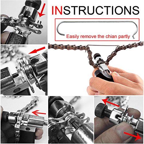MTURE Werkzeug Kettennietdrücker,Kettennieter für Fahrrad Ketten Entferner Werkzeug, schwarz -